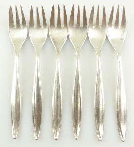 E10917 6 versilberte Kuchengabeln von Bruckmann 90er Silberauflage