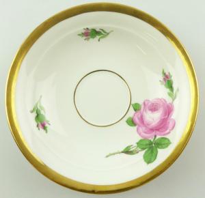 E10897 Meissen Porzellan Untertasse Rote Rose mit Goldrand Pfeifferzeit