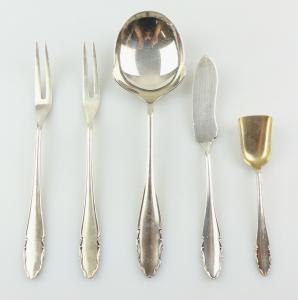 E10881 5 alte WMF Vorleger 90er Silberauflage Zuckerlöffel Kartoffellöffel etc
