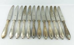 #e2298 Argenta 12 dekorative Messer in 90er Silberauflage