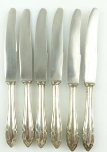 E10967 6 Messer mit Griffen aus 800er Silber