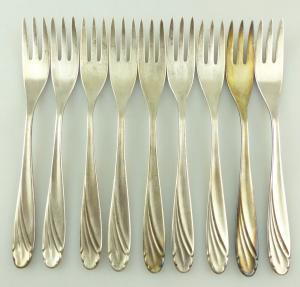 E10932 9 versilberte Kuchengabeln von WMF 90er Silberauflage