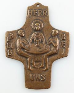 E11020 Sehr großes tragbares Bronze Kreuz Herr bleib bei uns zur Konfirmation
