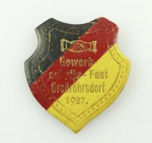 E11019 Original altes Pappe Abzeichen Gewerkschaftsfest Großröhrsdorf 1927
