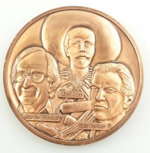 E11010 Alte Medaille aus Bronze Karl May Lex Barker Martin Böttcher 1993