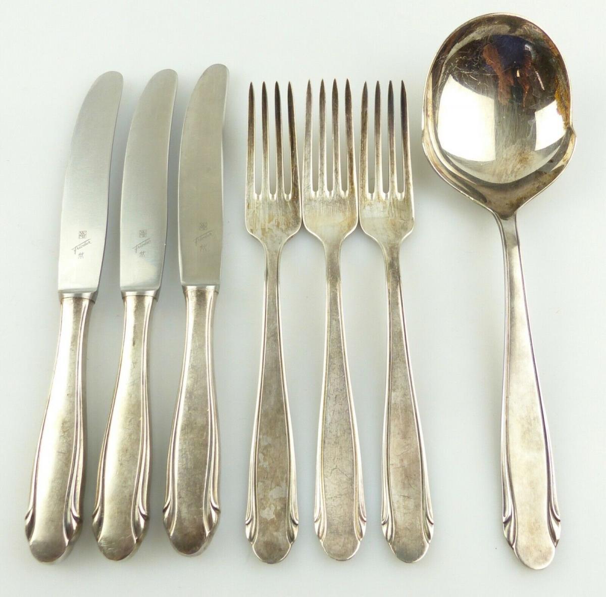 E10986 7 teiliges versilbertes Essbesteck von WMF 90er Silberauflage 0
