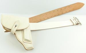 E10976 Original alte MdI NVA Koppel weiß 110 cm 1985 mit weißer Pistolentasche