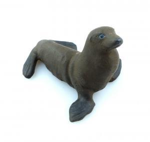 E9375 Antikspielzeug Tier Masse Figur Lineol wohl 50er Jahre Seerobbe Robbe