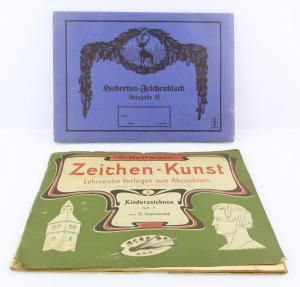 E11131 Hubertus Zeichenblock und Zeichenkunst Vorlagen zum Abzeichnen um 1900