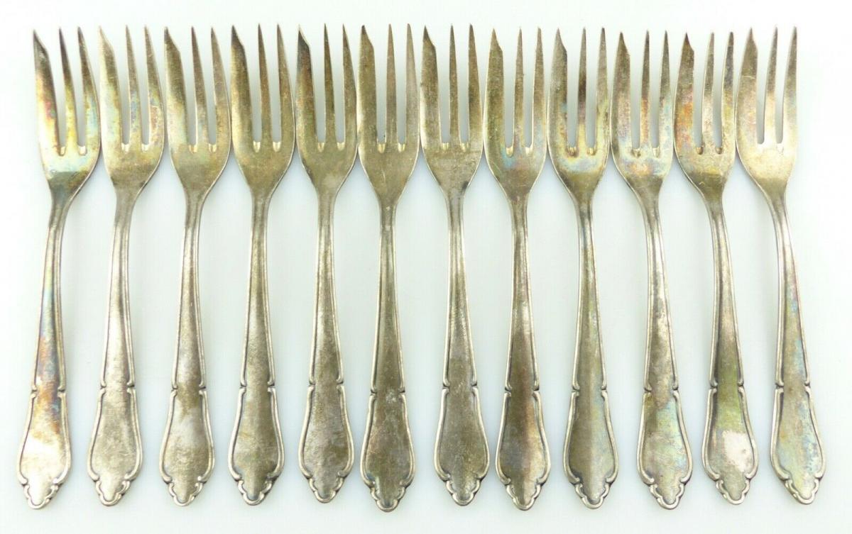 E11187 12 versilberte Kuchengabeln in 100er Silberauflage 0