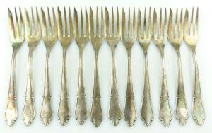 E11187 12 versilberte Kuchengabeln in 100er Silberauflage