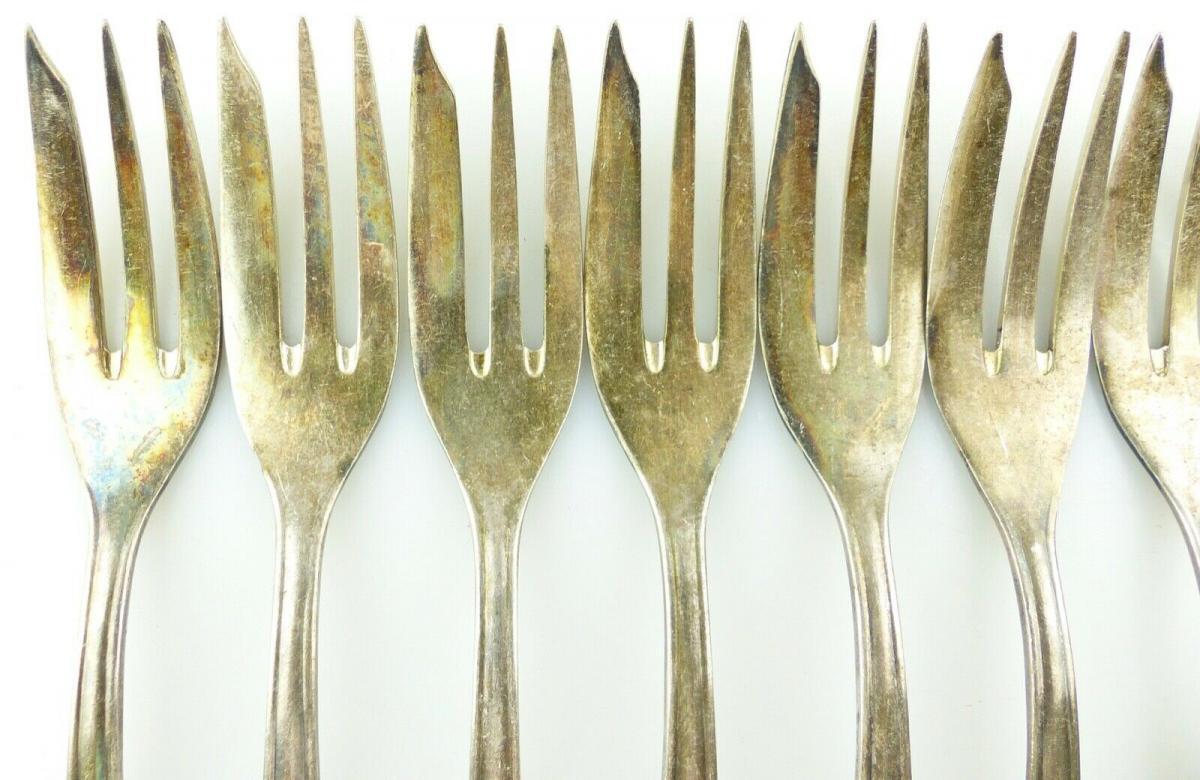 E11187 12 versilberte Kuchengabeln in 100er Silberauflage 1
