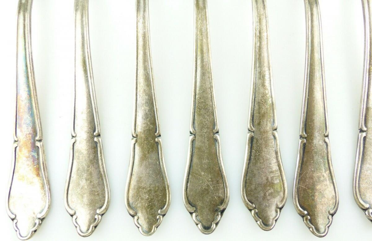 E11187 12 versilberte Kuchengabeln in 100er Silberauflage 2