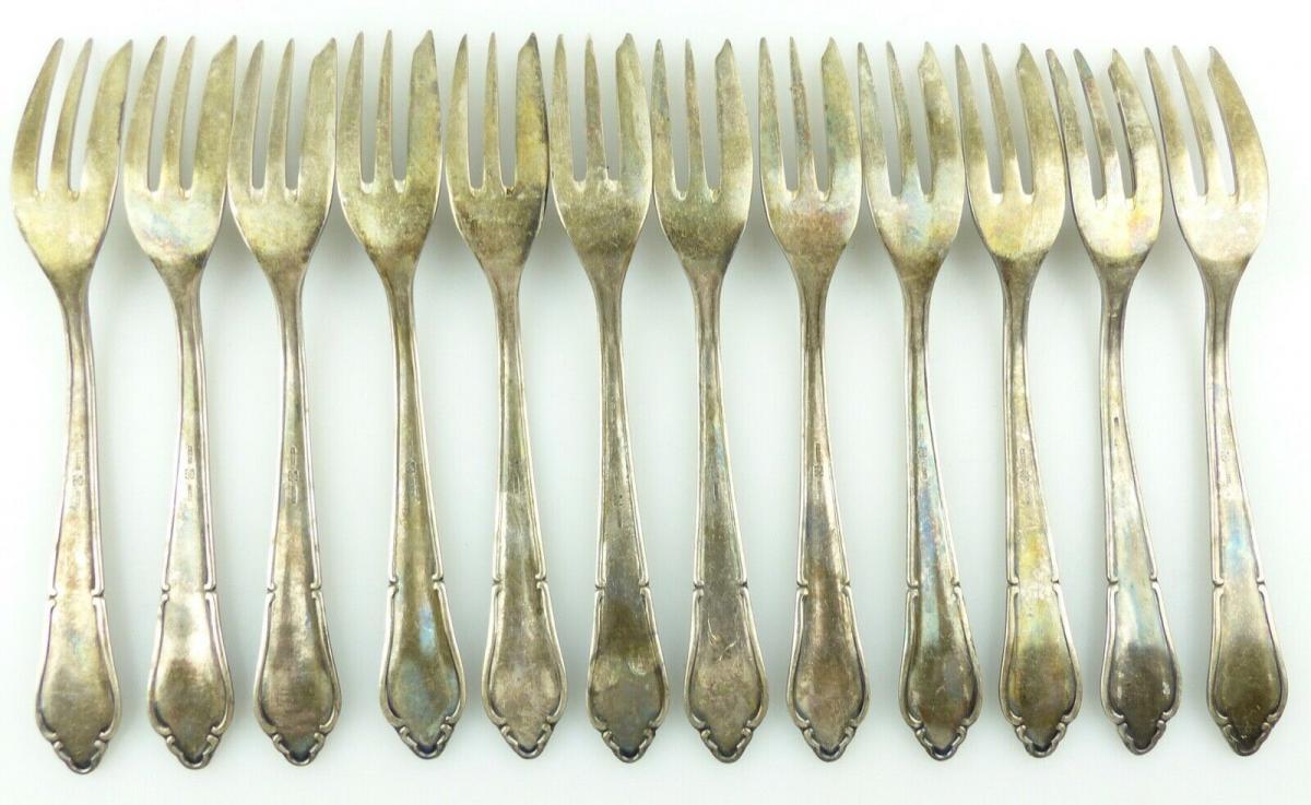 E11187 12 versilberte Kuchengabeln in 100er Silberauflage 3