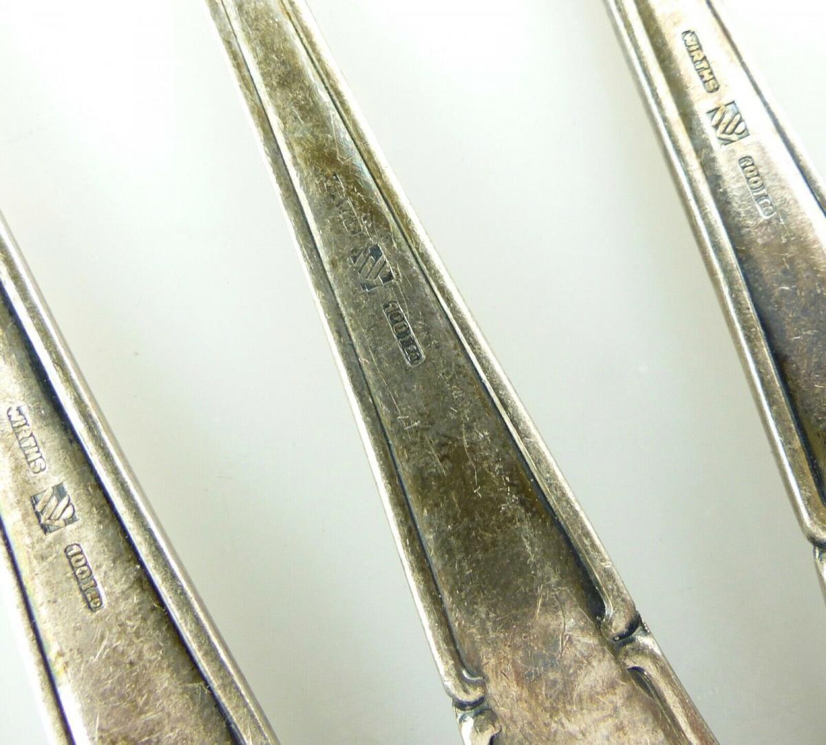 E11187 12 versilberte Kuchengabeln in 100er Silberauflage 4