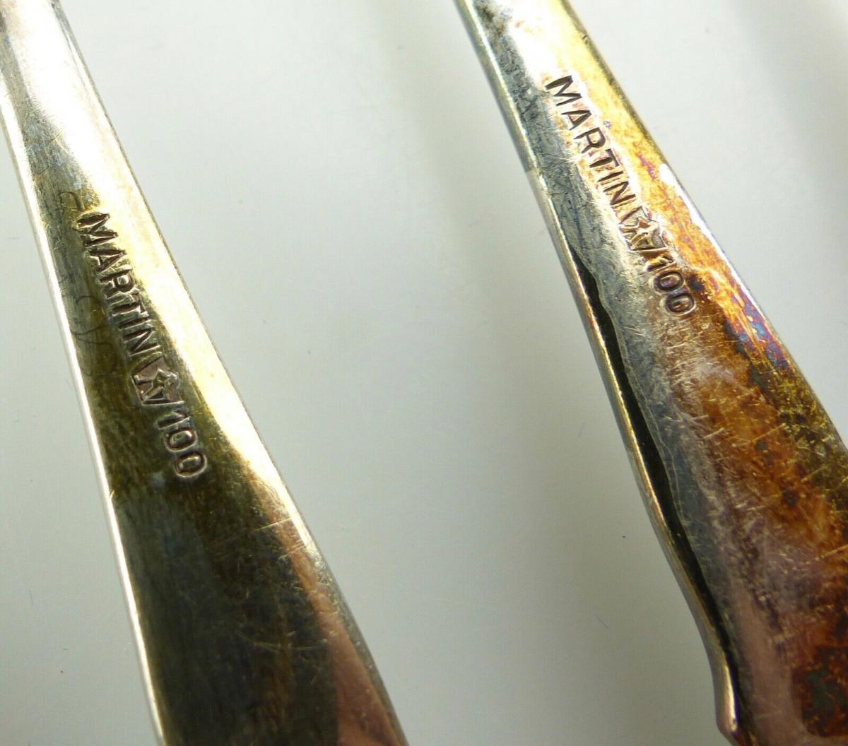 E11173 6 original alte versilberte Kuchengabeln 100er Silberauflage 5