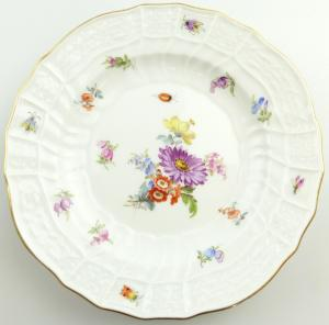 E11231 Meissen Teller 1 Wahl Neubrandenstein Blumen Insekten Goldrand Ø 15 cm