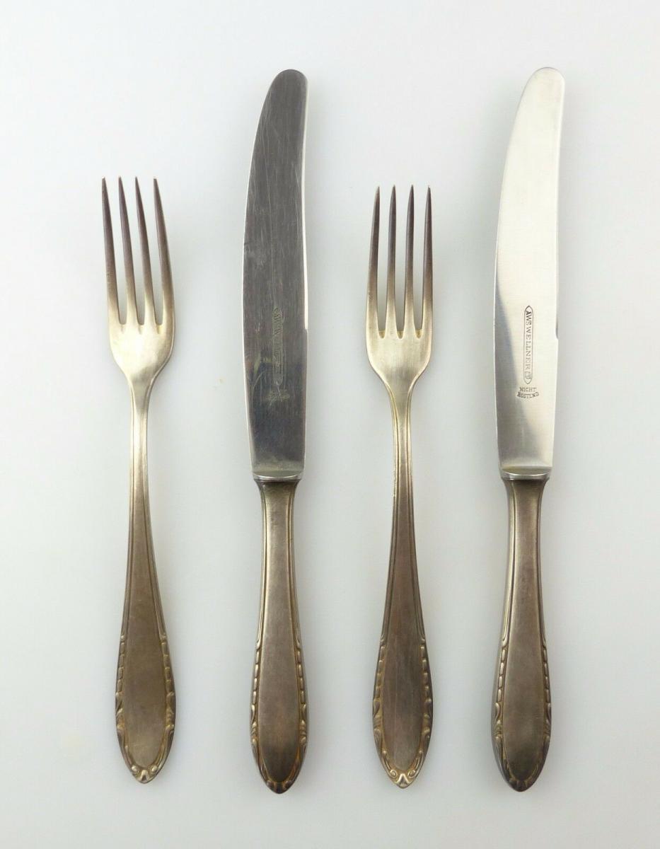 #e7013 4 teiliges Wellner Besteck Gabel und Messer 100er Silberauflage 0