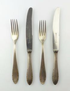#e7013 4 teiliges Wellner Besteck Gabel und Messer 100er Silberauflage