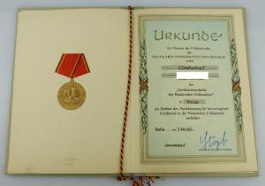 Urkunde: Verdienstmedaille der NVA Bronze 1959 verl. Oberstleutnant, Orden2801