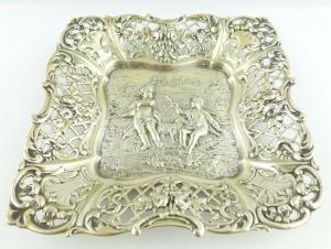Schöne Gründerzeit Schale mit Engeln und Rosen in 800 (Ag) Silber e720