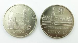 E11287 2x 5 Mark DDR Leipzig Thomas Kirche und Altes Rathaus 1984