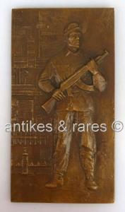 Alte Bronze Gussplatte Relief Kampfgruppen der DDR Lauchhammer so028