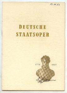 Opernheft Deutsche Staatsoper FIDELIO 1953