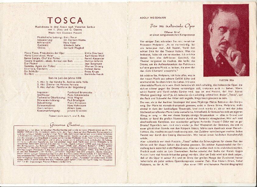 Heft: Städtische Bühnen Erfurt TOSCA Spielzeit 1952/53 1
