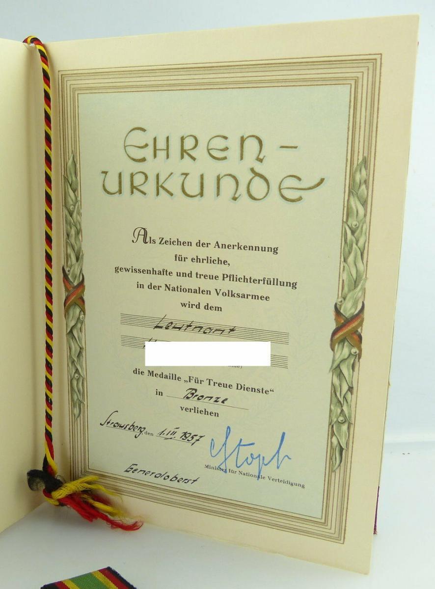 Medaille Für Treue Dienste NVA in Bronze + Urkunde 1957 verliehen, Orden3158 1