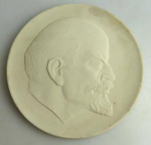 Große weiße Meissen Medaille W. I. Lenin un051