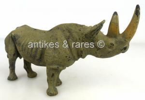 Altes Lineol Tier: Nashorn, wohl 30er Jahre (linol134)