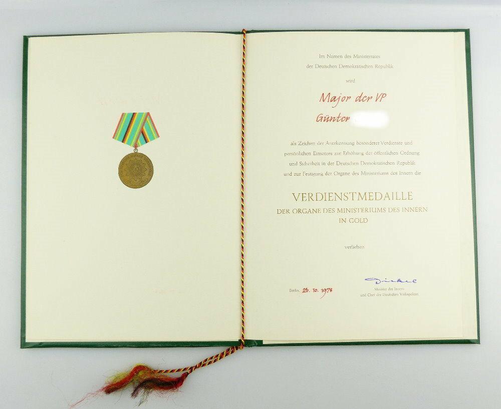 #e2978 Nachlass: DDR Urkunde für Verdienstmedaille der Organe des MdI von 1978 0