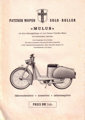 patzner moped prospekt 1955 nr patz003 oldthing motorrad firmen p z. Black Bedroom Furniture Sets. Home Design Ideas