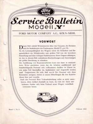 Ford Service Bulletin Mod. Y Bd.1 No.2 2/1933
