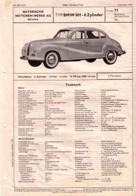BMW 501 VDA-Typenblatt 9.1955