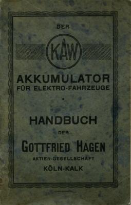 Hagen Handbuch für Elektrofahrzeuge 1927