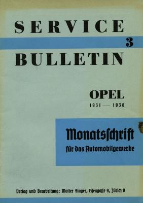 Service Bulletin Opel 1931-1936 Nr. 3 1937