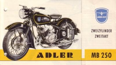 Adler Motorrad MB 250 Prospekt 1955 Nr. Adl-M5505 ...
