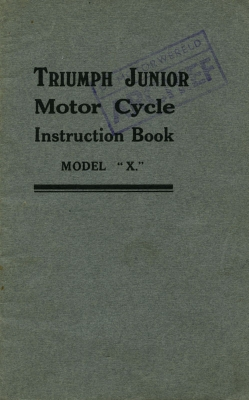Triumph Junior model X Bedienungsanleitung ca. 1930