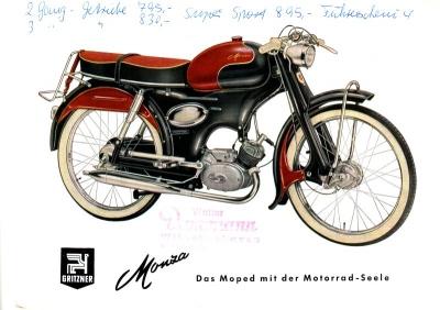 Gritzner Moped Monza Prospekt 1959