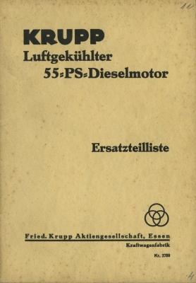 Krupp 55 PS Dieselmotor Ersatzteilliste 1930er Jahre