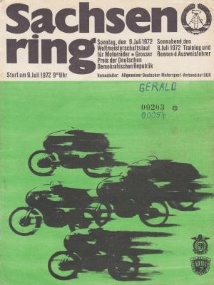 Programm Int. Sachsenringrennen 9.7.1972