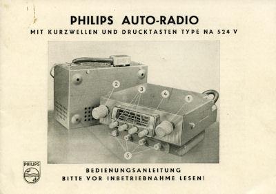 Autoradio Philips NA 524 V Bedienungsanleitung 1954
