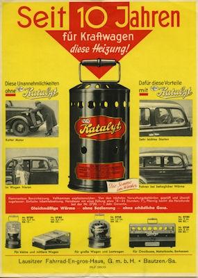 Katalyt Motor- und Wagenheizung 3 Prospekte 1930er Jahre