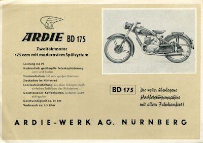 Ardie BD 175 + B 251 Prospekt 1951