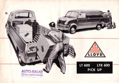 Lloyd LT 600 LTK 600 Pick up Prospekt 1950er Jahre