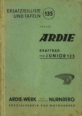 Ardie Ersatzteilliste Junior 125 1939