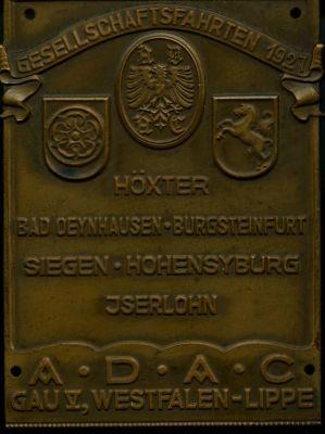 Plakette Gesellschaftsfahrten Westfalen-Lippe 1927
