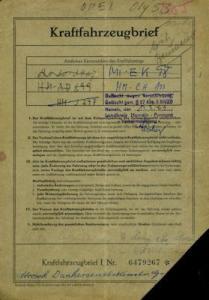 Opel Olympia Original Fahrzeugbrief 1953
